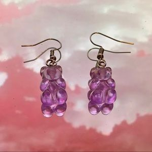 Handmade purple gummy bear earrings